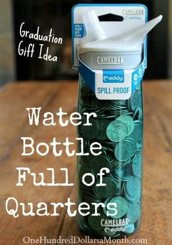 Water bottle full of quarters