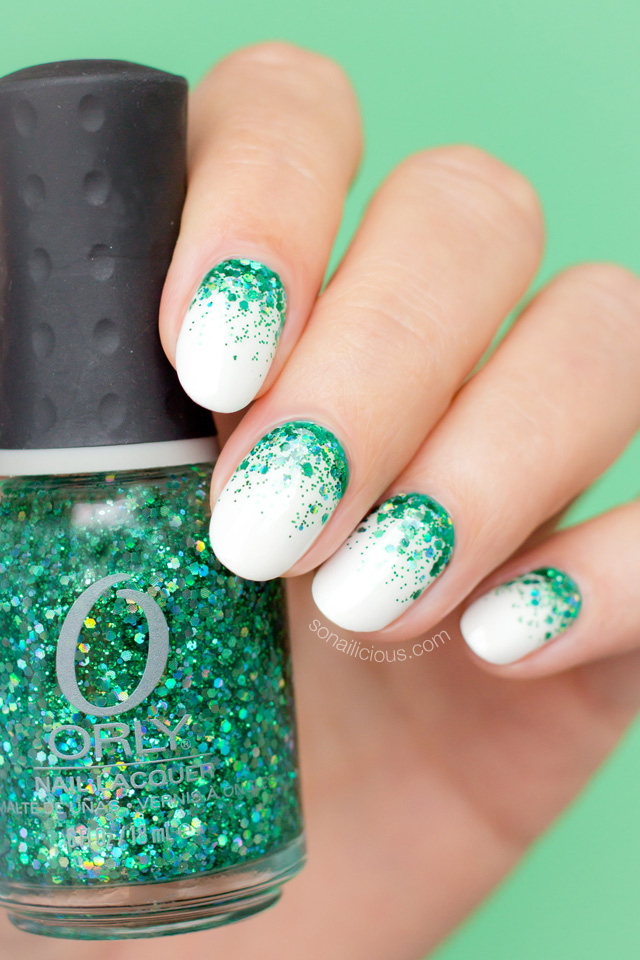 White with green glitter beds