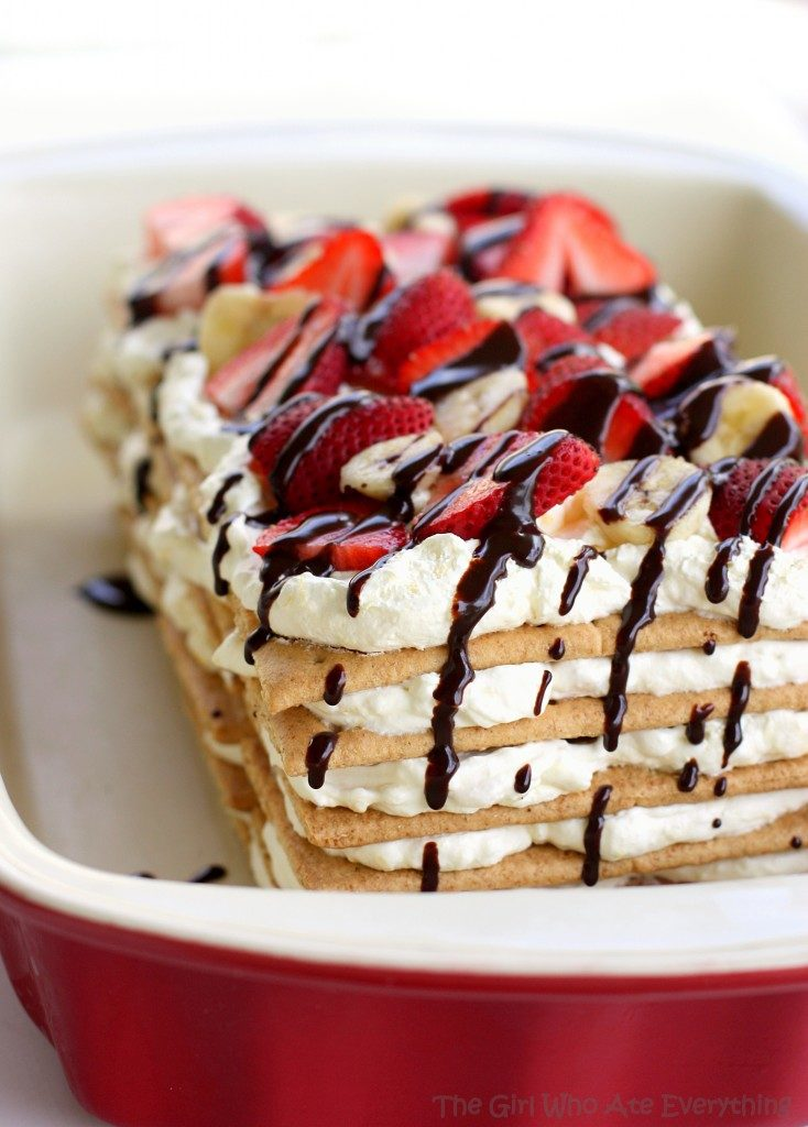 Banana split icebox cake platter
