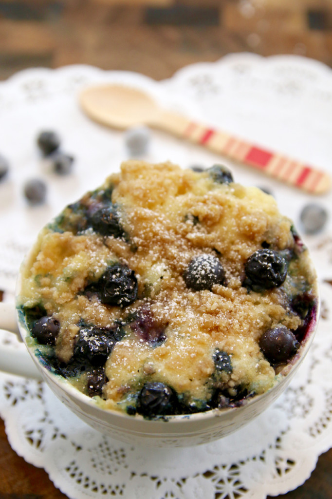 Blueberry muffin recipe in a mug