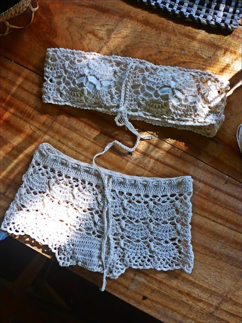 Crochet tube top and boy shorts