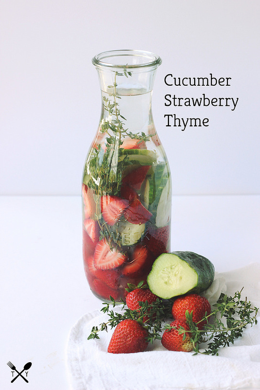 Cucumber strawberry thyme water