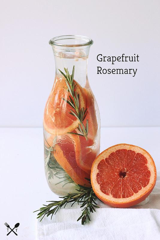 Grapefruit and rosemary water