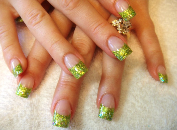 Green glitter french manicure