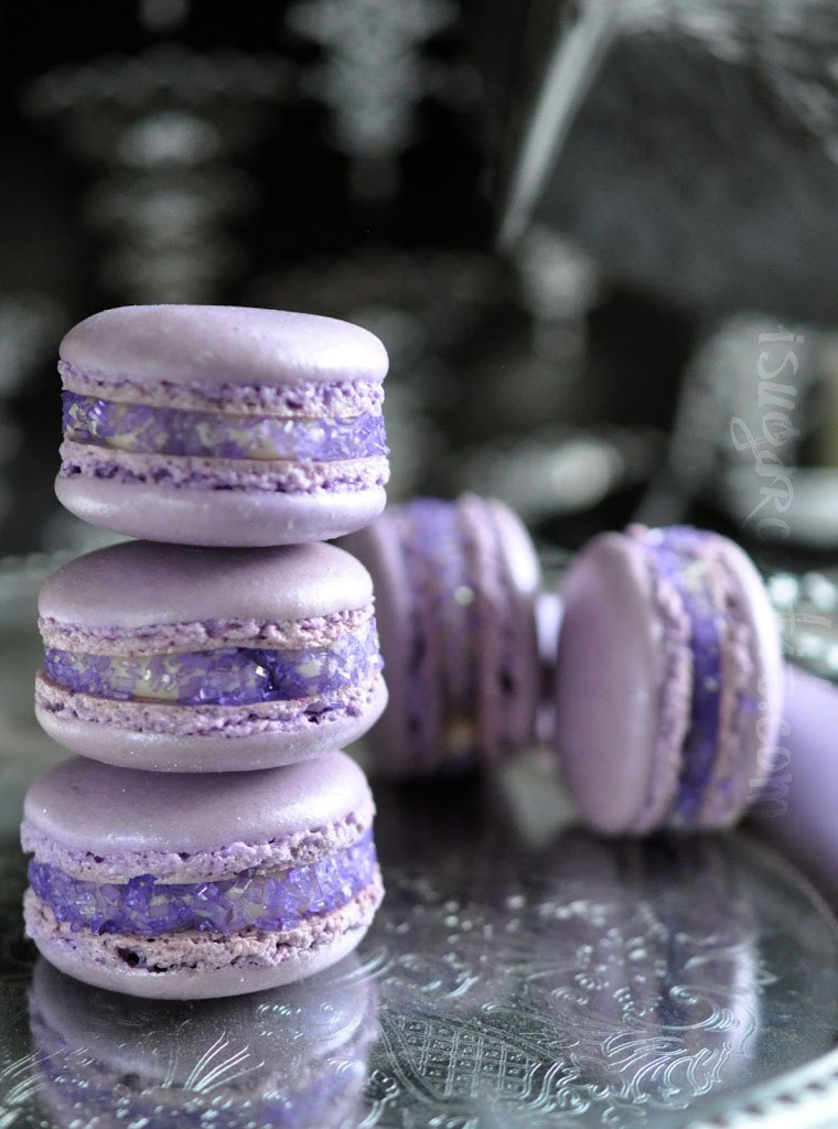 Lavender and rose macaroons