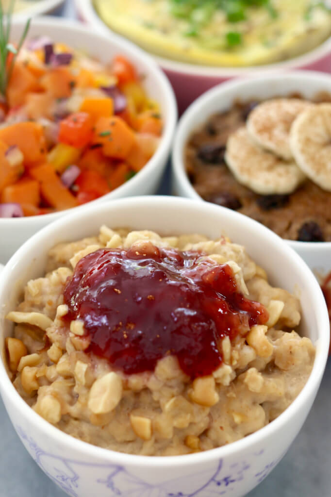 Peanut butter and jelly oatmeal in a mug