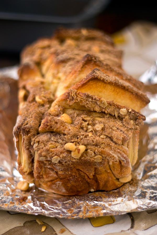 Peanut crunch pull apart bread