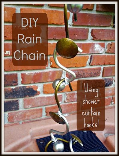 Rain chain shower curtain hooks