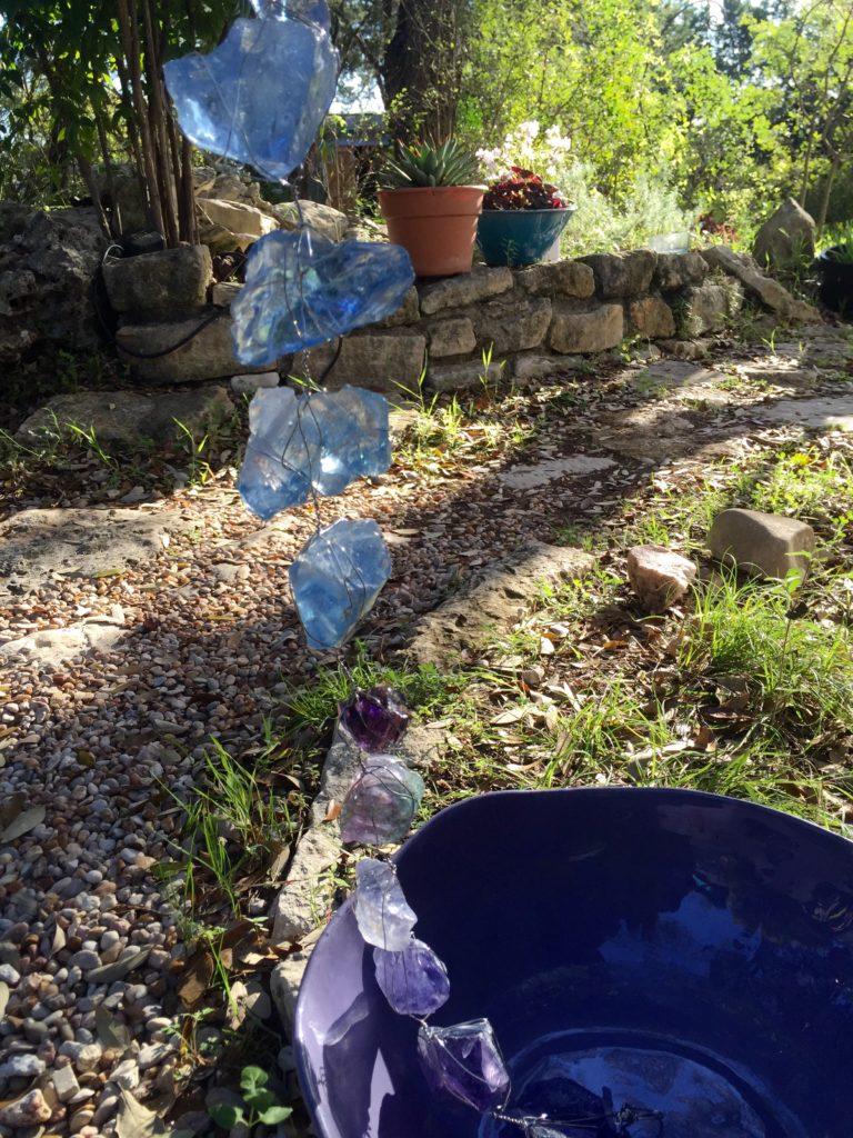 Slag glass rain chain