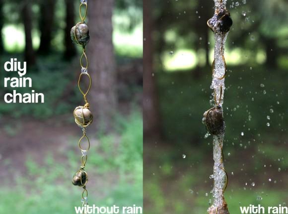Wire wrapped rock rain chain
