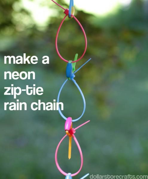 Zip tie rain chain