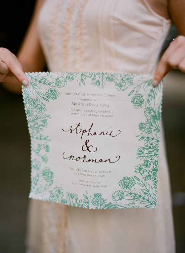 14 farm wedding fabric invitation