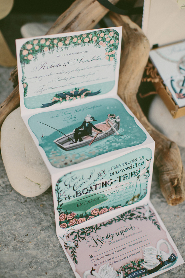 16 folding italian seaside wedding invitation