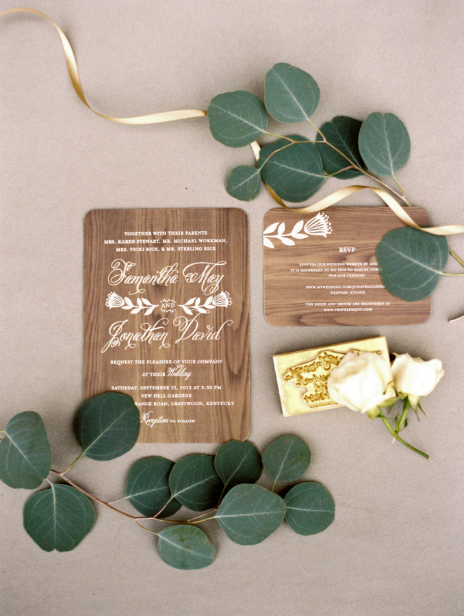 2 wood invitations