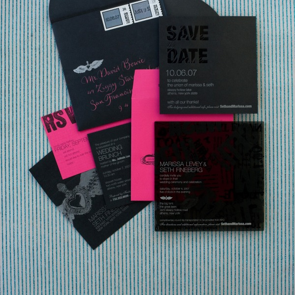 29 neon and black invitation suite
