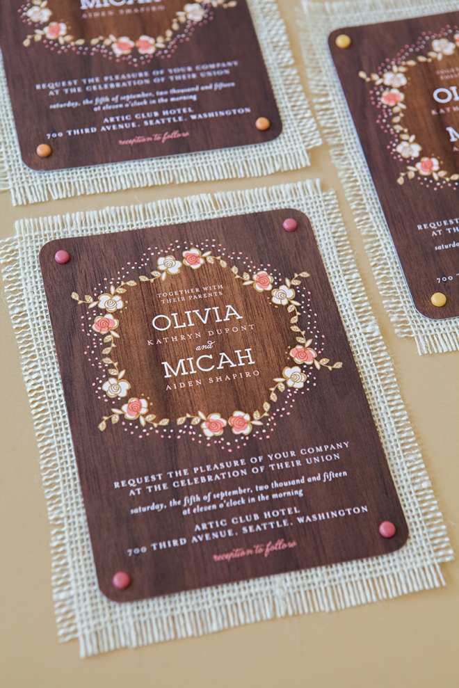 3 fabric backed wedding invites