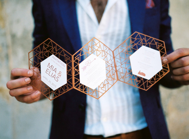 32 geometric paper cut invitations
