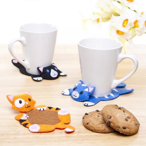 3d felt kitty coasters
