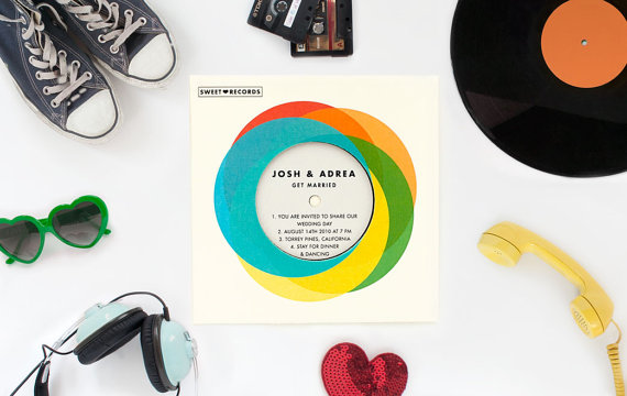 40 paper record sleeve invitation