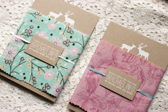 45 fabric wrapped invitations