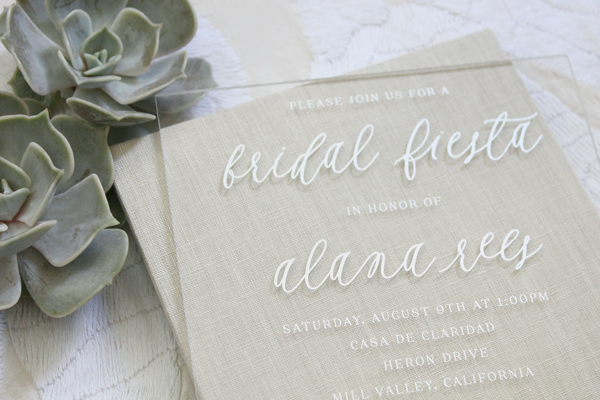 5 clear lucite invitations