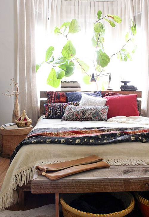 5 fiddle leaf fig bohemian bedroom