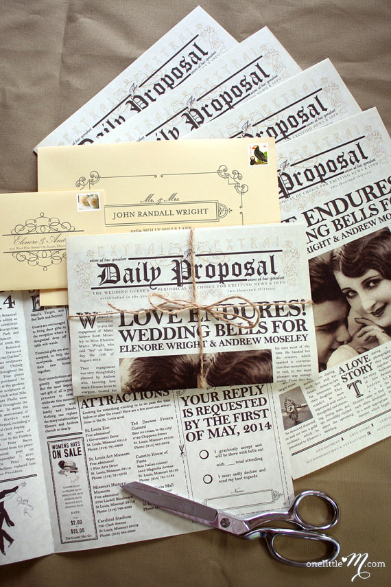 50 newspaper wedding invitation