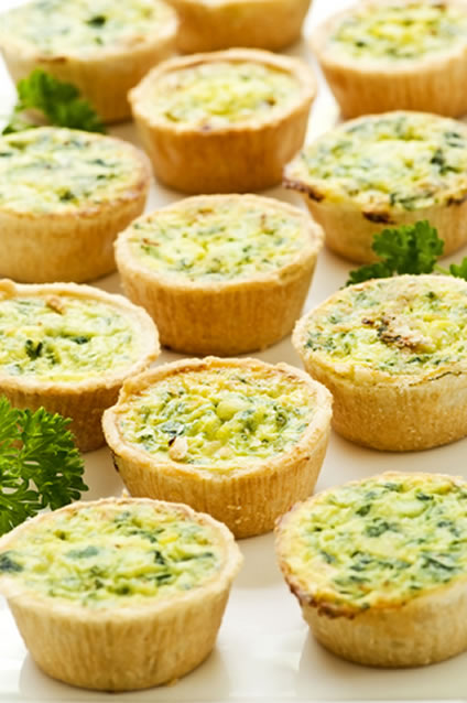 7 mini spinach cheddar quiche