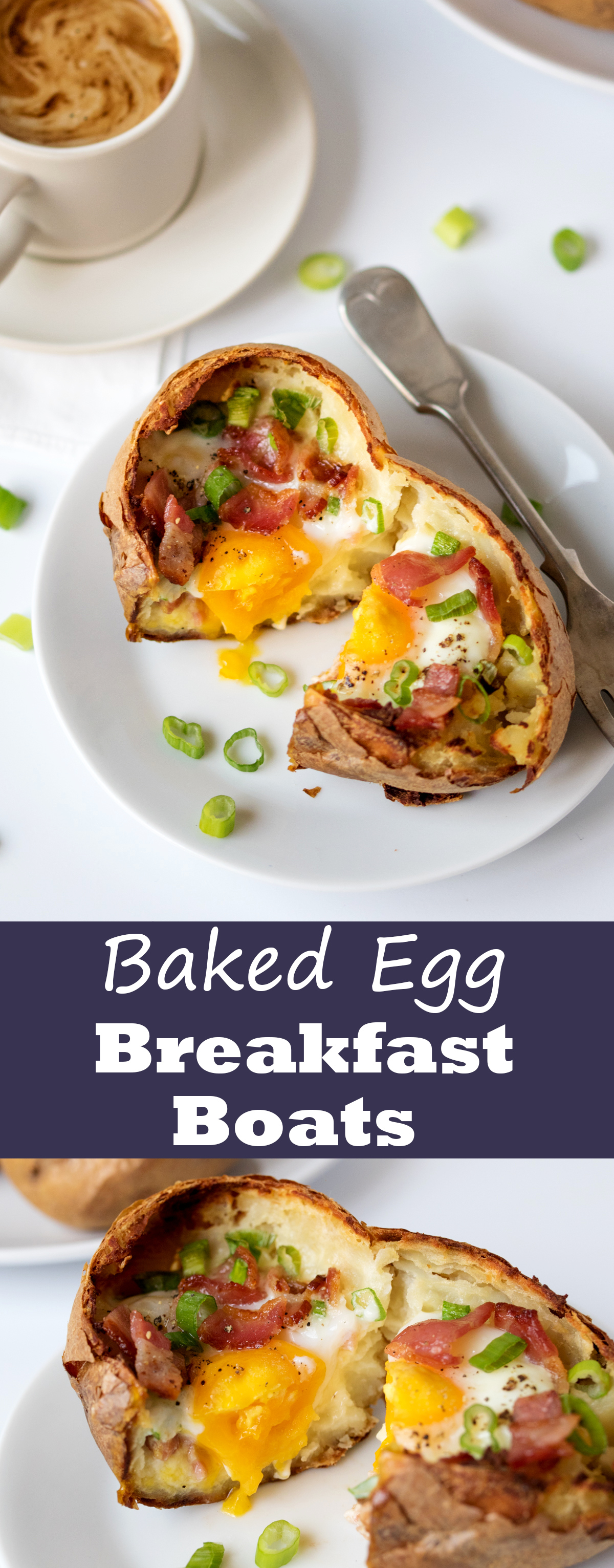 Crispy baked potatoes stuffed with egg and bacon - a delicious breakfast or lunchtime treat!