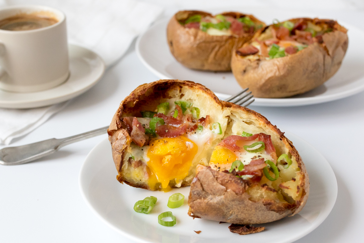 Baked egg breakfast boats with bacon and scallions finished2 5