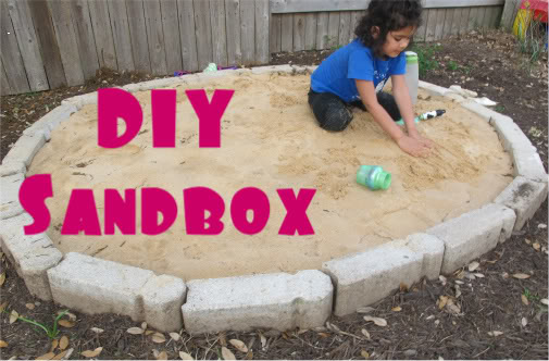 Brick edged sandbox