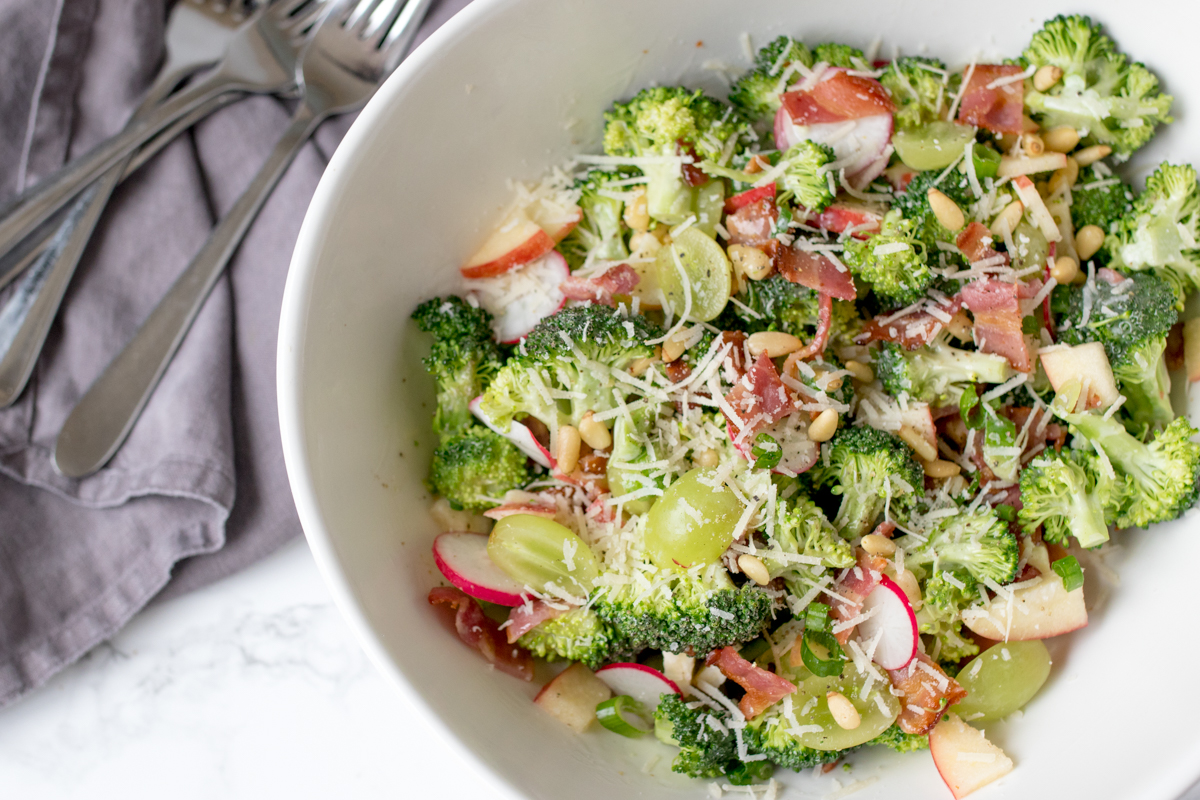 A delicious broccoli salad with bacon and a creamy, tangy dressing. You can make it ahead too!
