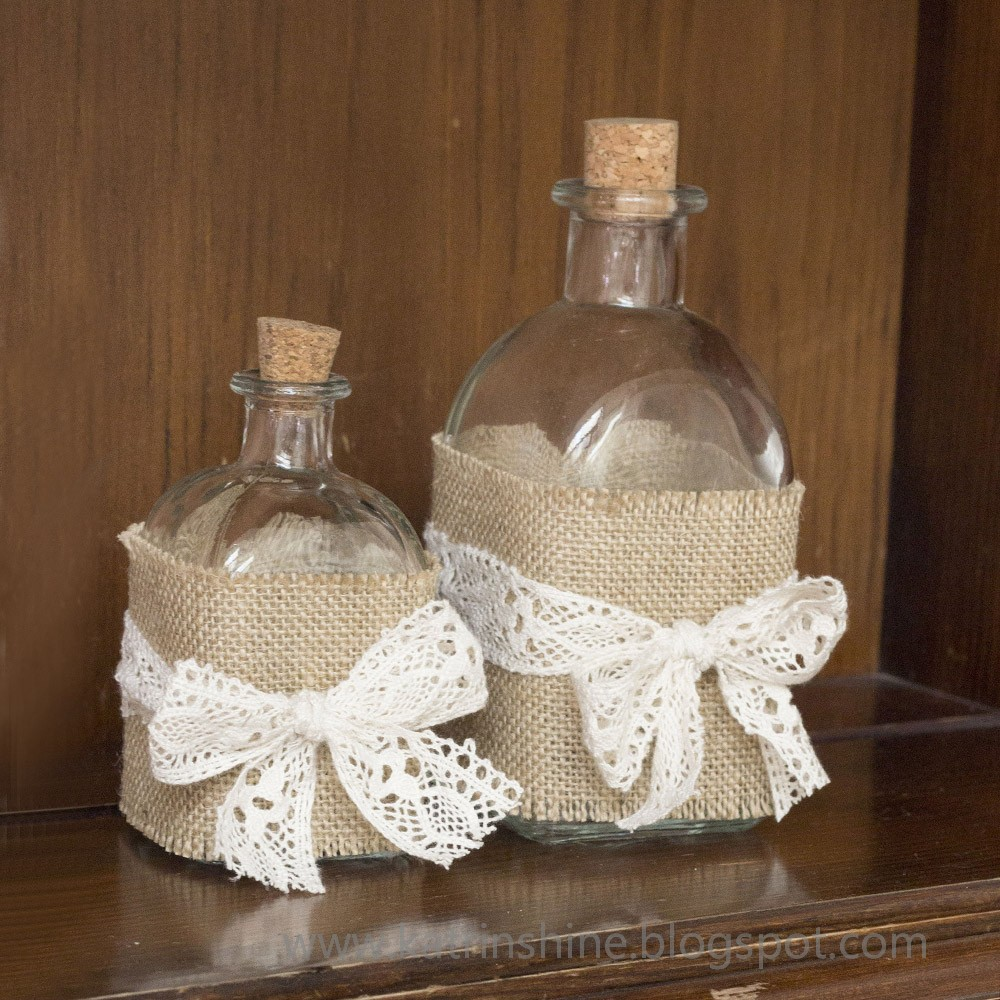 Burlap and lace corked bottles