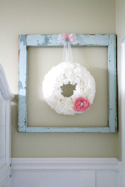 Chipped window wreath hanger