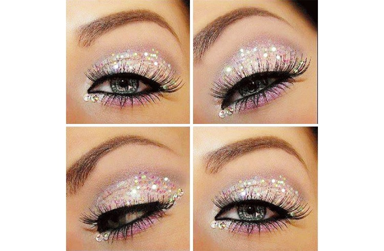 Chunky iridescent glitter over white