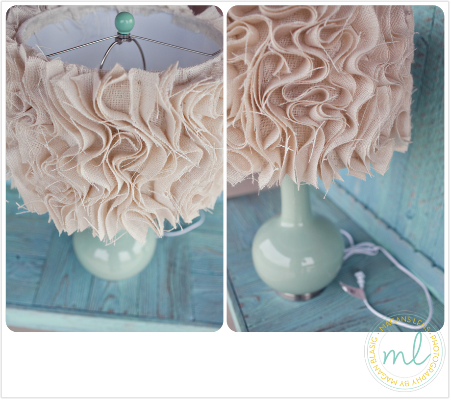 Close up photographs of ruffled burlap anthropologie diy lamp shade