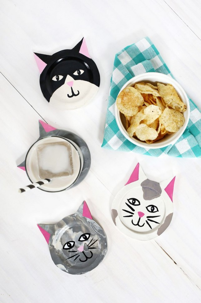 Diy kitty cat coasters
