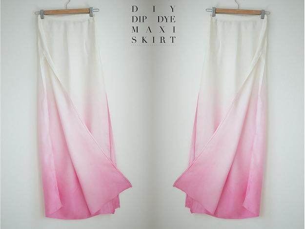 Dip dyed, slit maxi skirt