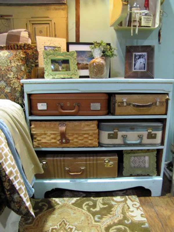 Dresser and vintage suitcase storage