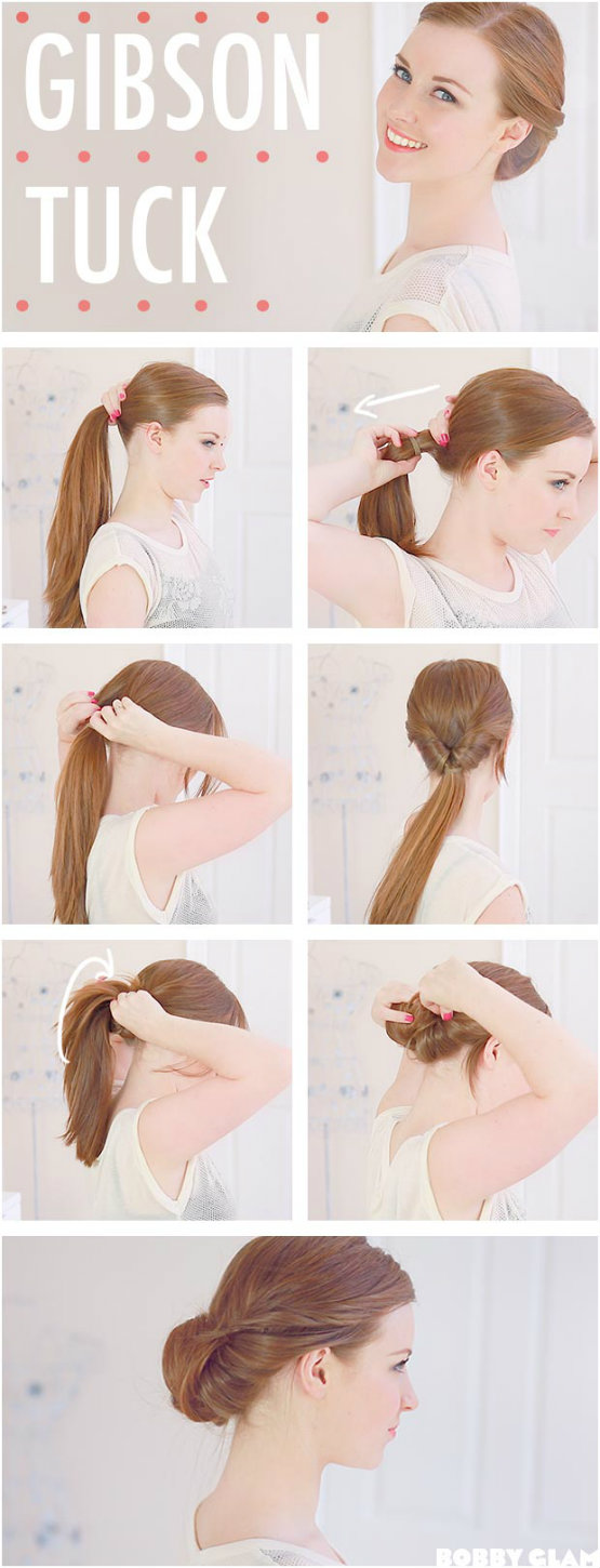 Easy updo tutorial to follow gibson tuck low updo