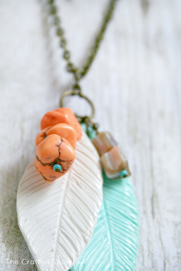 Etched polymer clay feather necklace