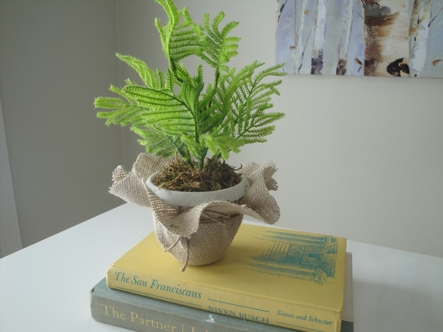 Faux fern and burlap wrap