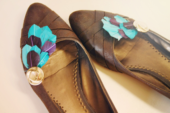 Feathered clips for shoes or scarves