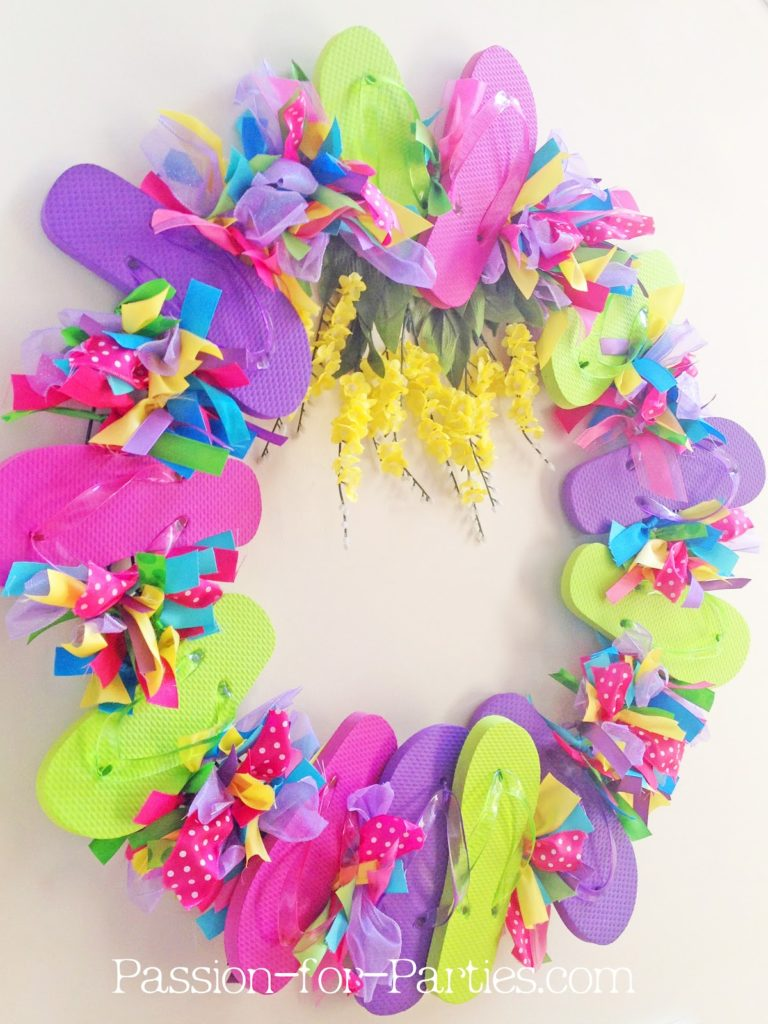Flip flop and ribbon wreath