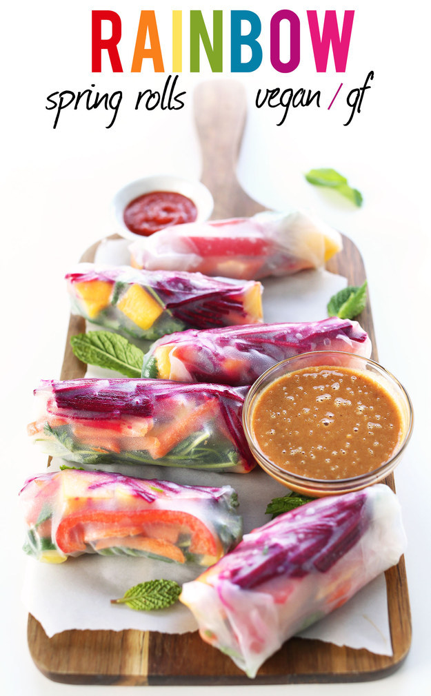 Fresh rainbow spring rolls with peanut butter sauce