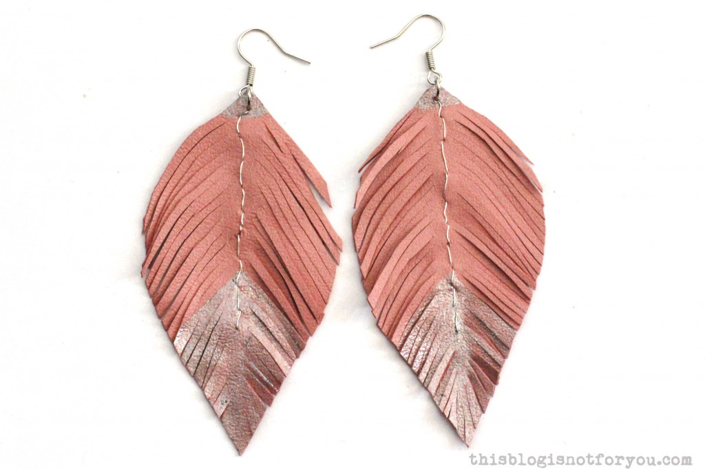 Fringed diy leather feather earrings