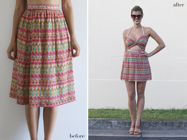 From skirt to cut out dress