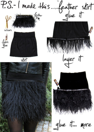 Fuzzy feathered skirt