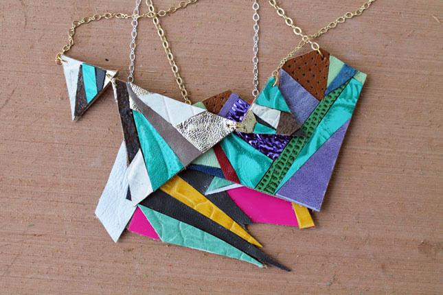Geometric leather pendant necklace