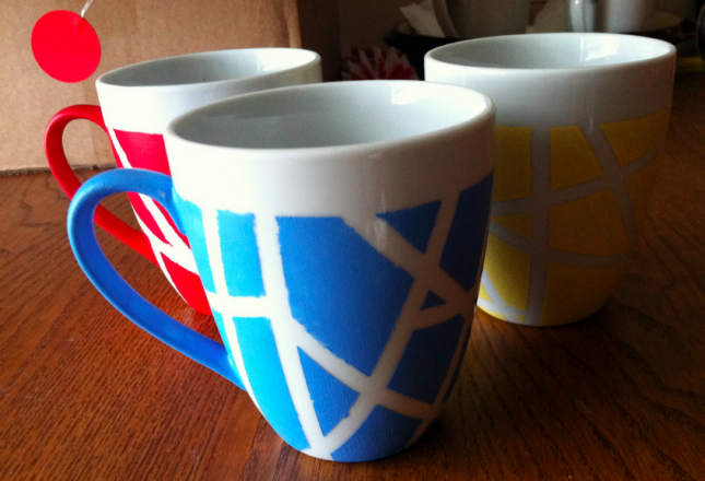 Geometric tape mugs